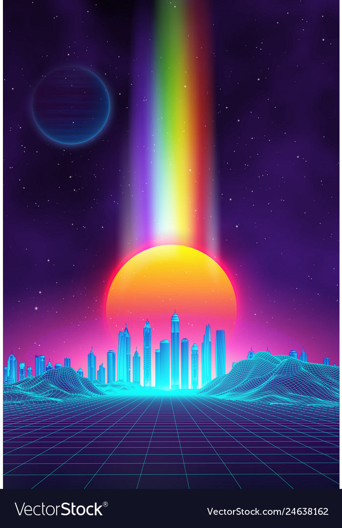Retro landscape background sunset 3d landscape