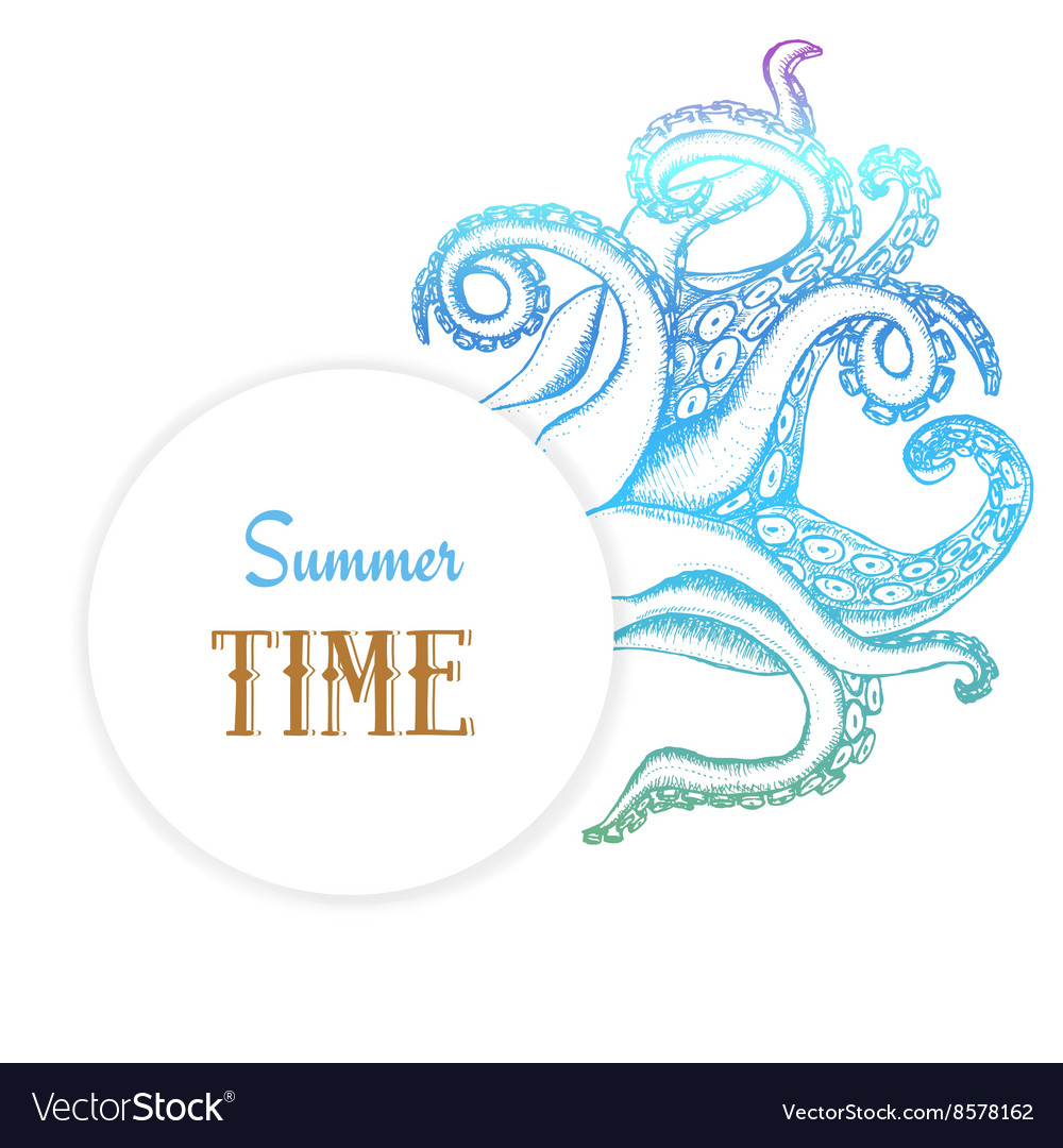 Summer time poster with octopuses tentacles vector image