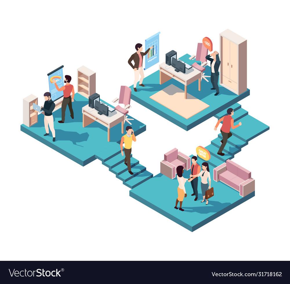Teamwork business analytics isometric concept