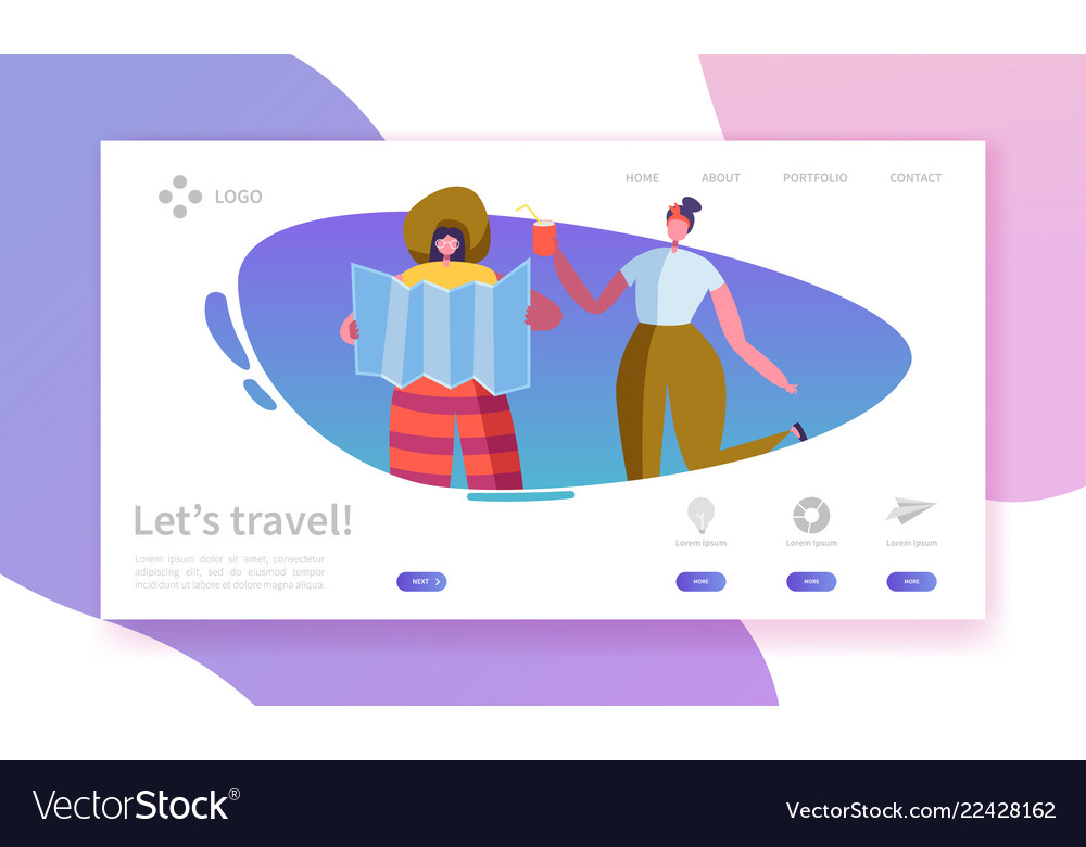 Tourism and travel industry landing page traveling