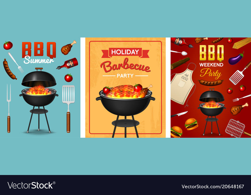 Barbecue grill elements set isolated on red