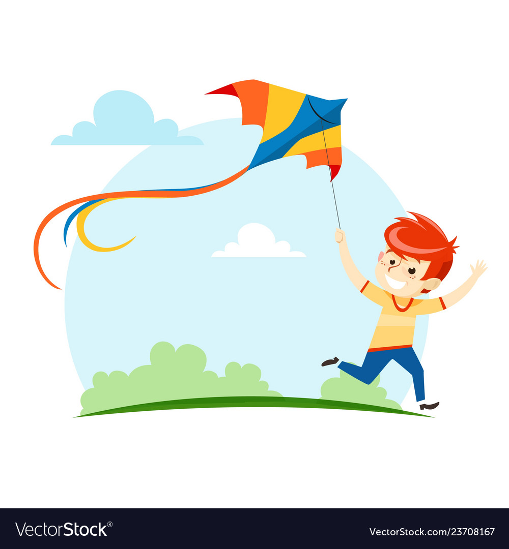 Boy runs and launches a kite into sky