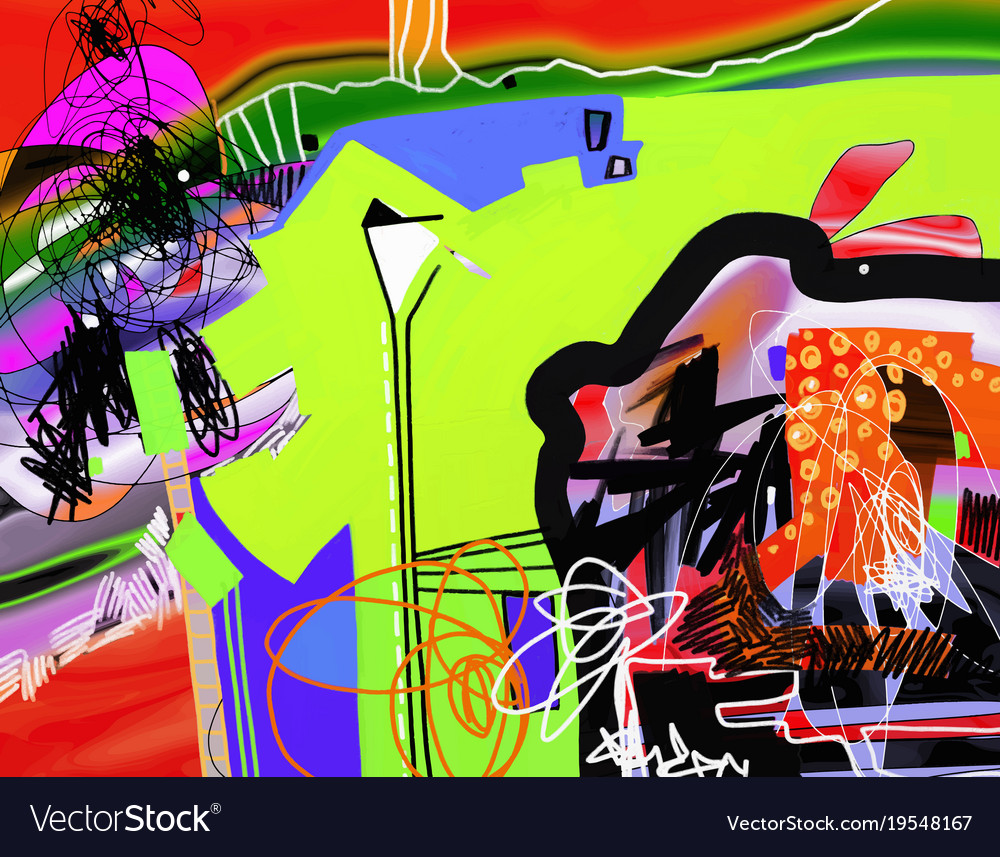Contemporary art digital abstract painting to