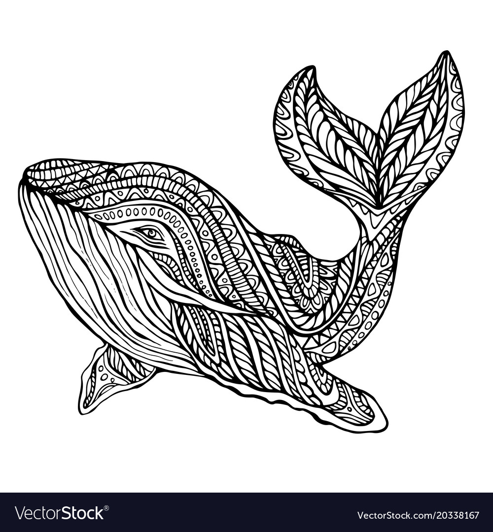 Fantasy ornament whale coloring page Royalty Free Vector