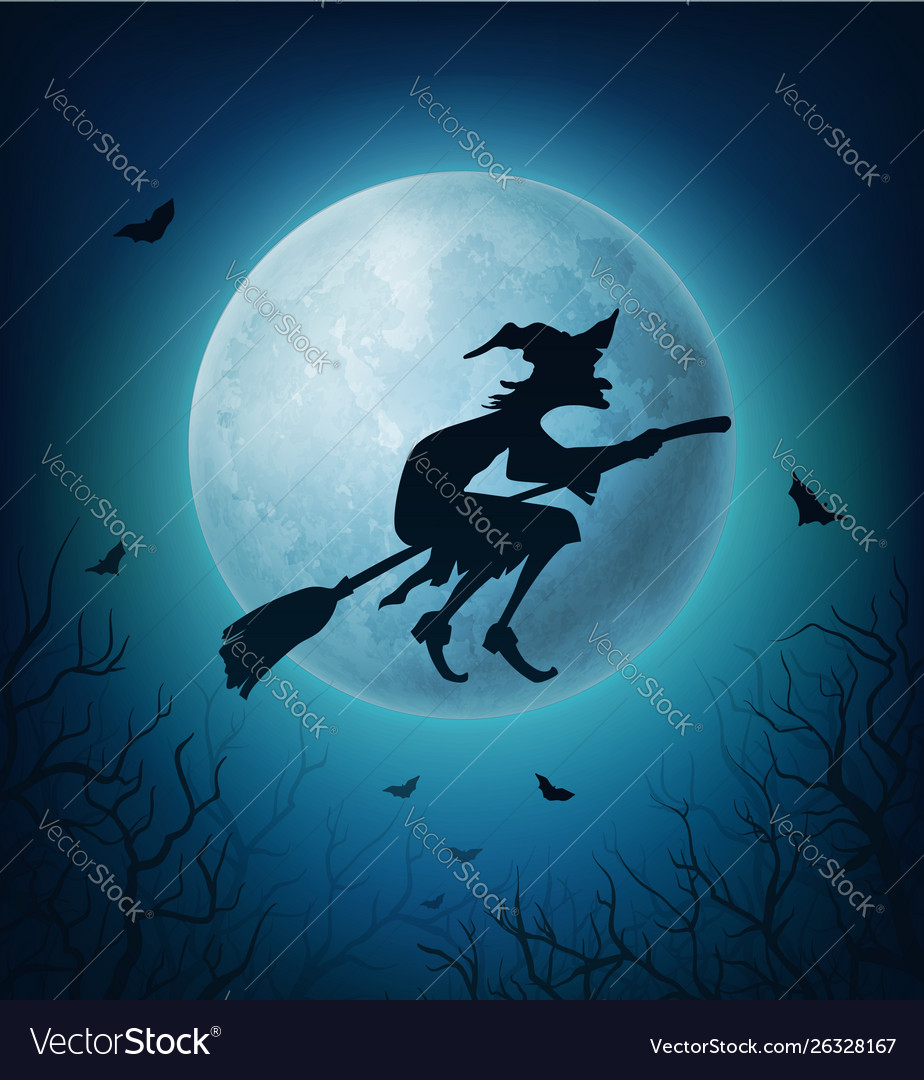 Halloween witch on broom with bats against moon