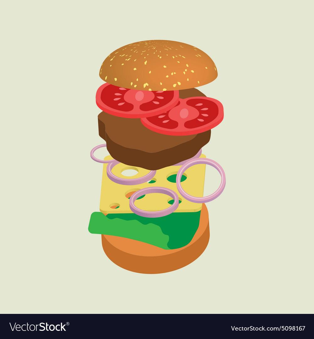 Hamburger or cheeseburger vector image