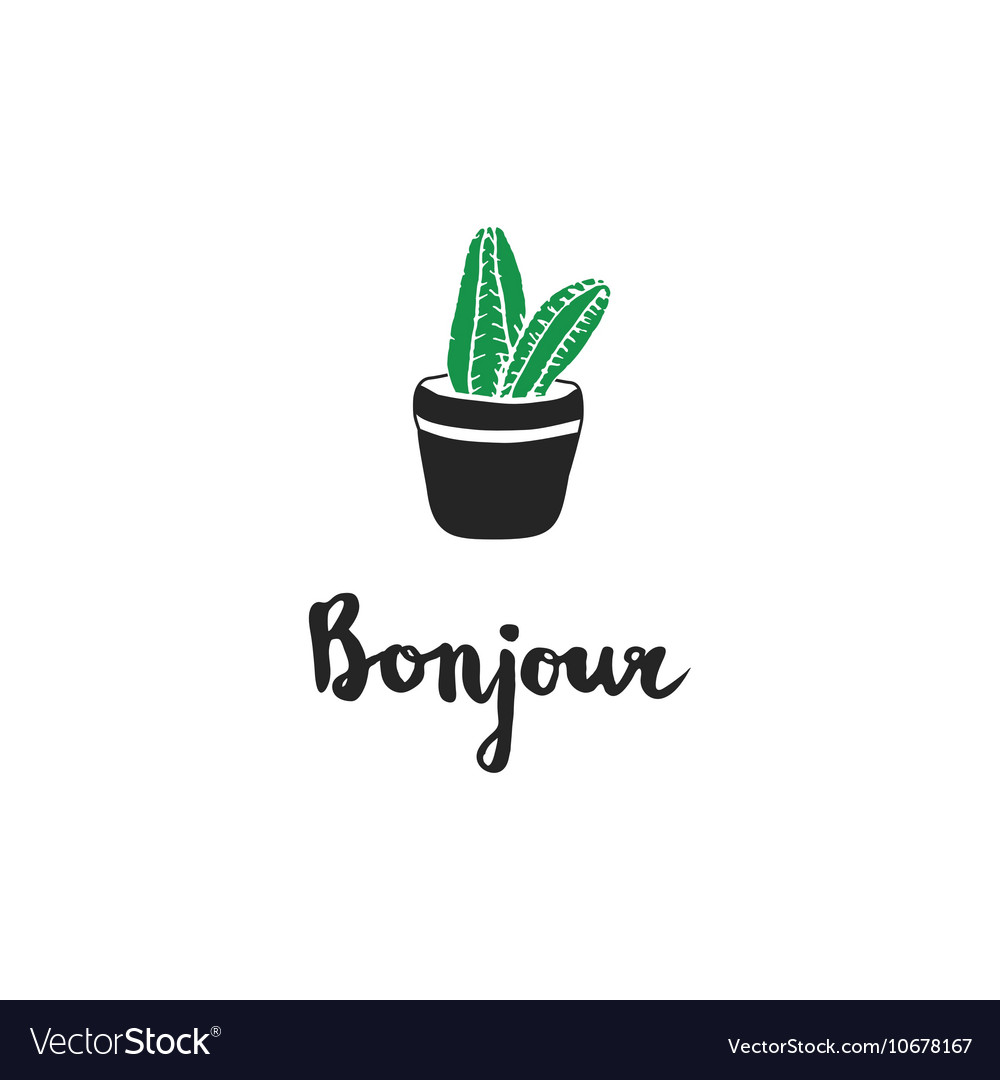 hand drawn cacti french quotes royalty vector