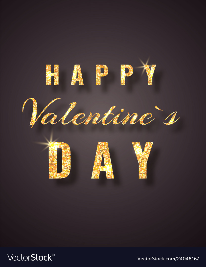 Happy valentines day golden glitter sparkle on
