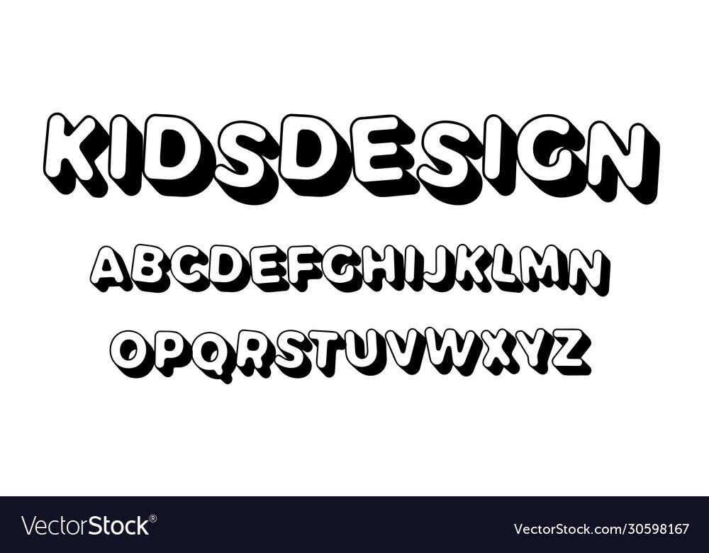 Kids letters set cartoon style alphabet