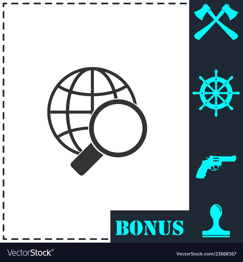 Magnify globe icon flat