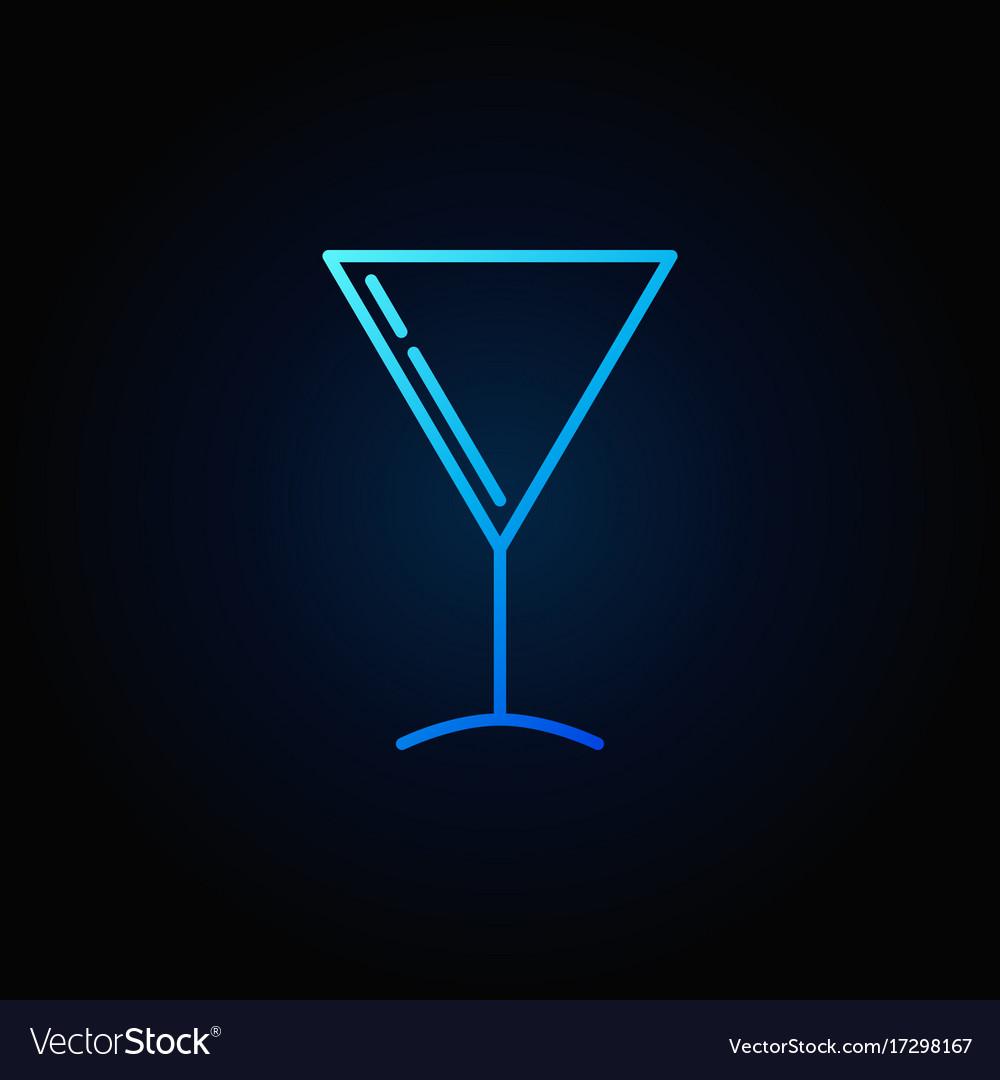 Martini glass blue icon vector image