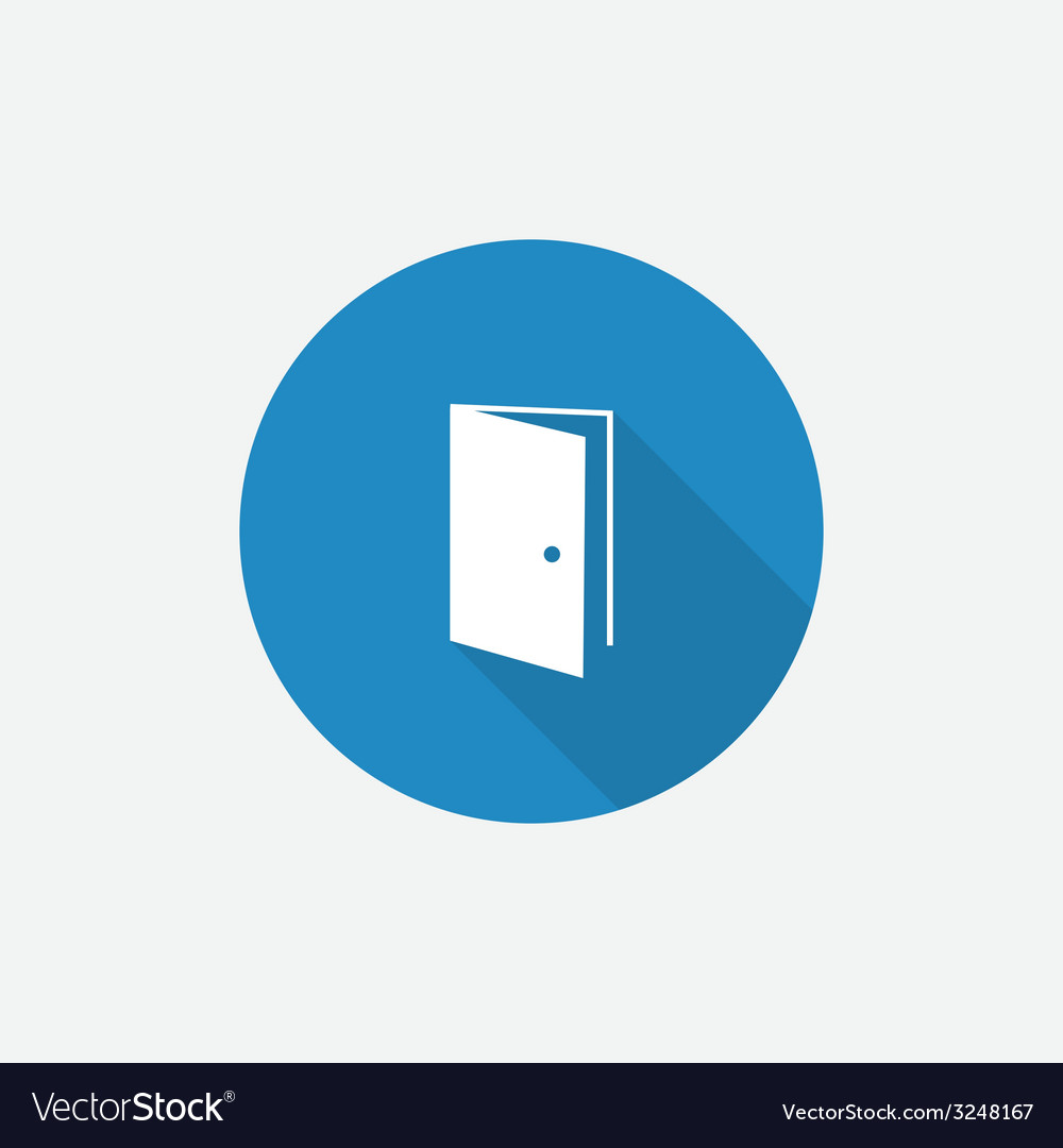 Open door Flat Blue Simple Icon with long shadow