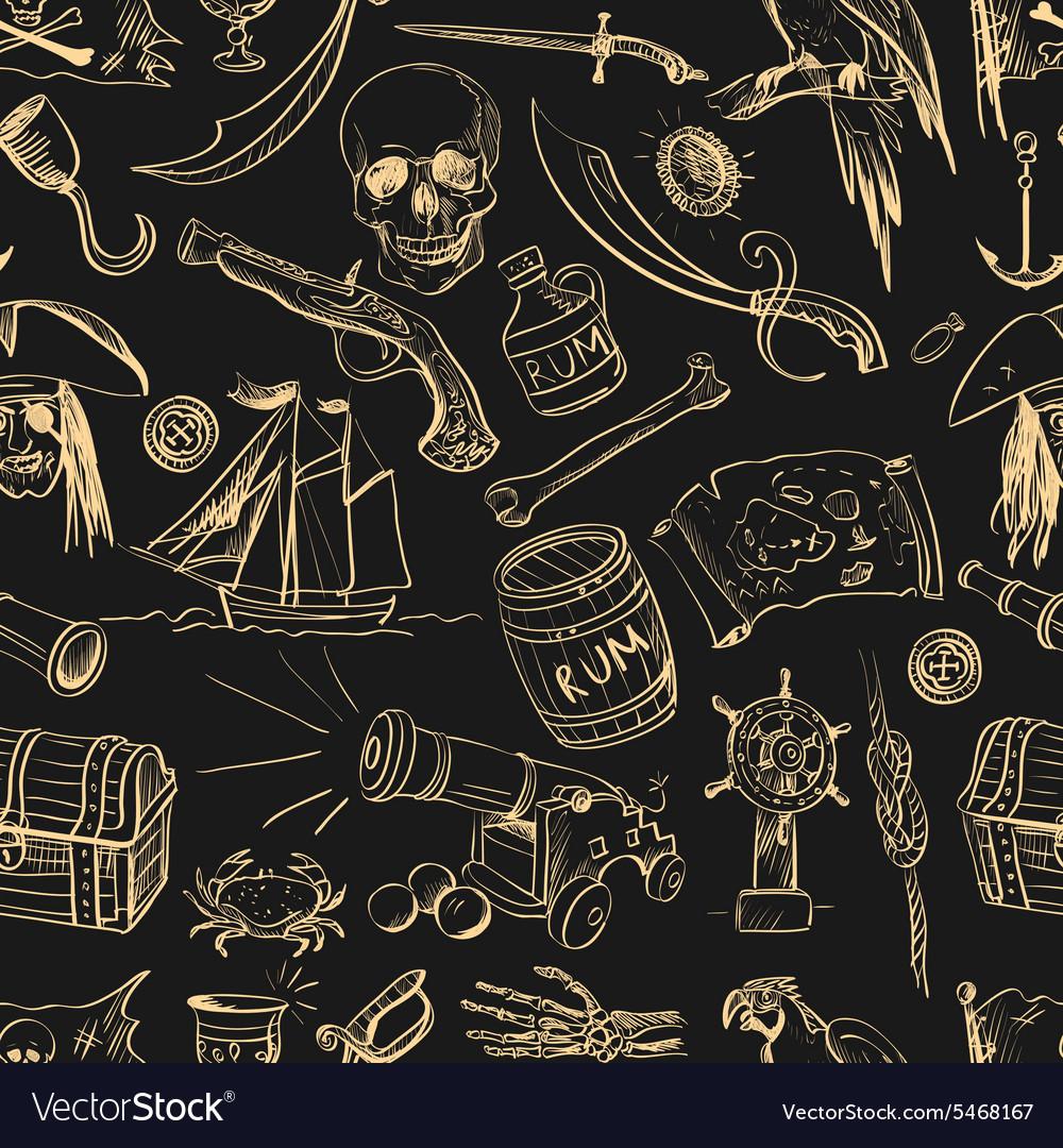 Pirates pattern Hand drawn