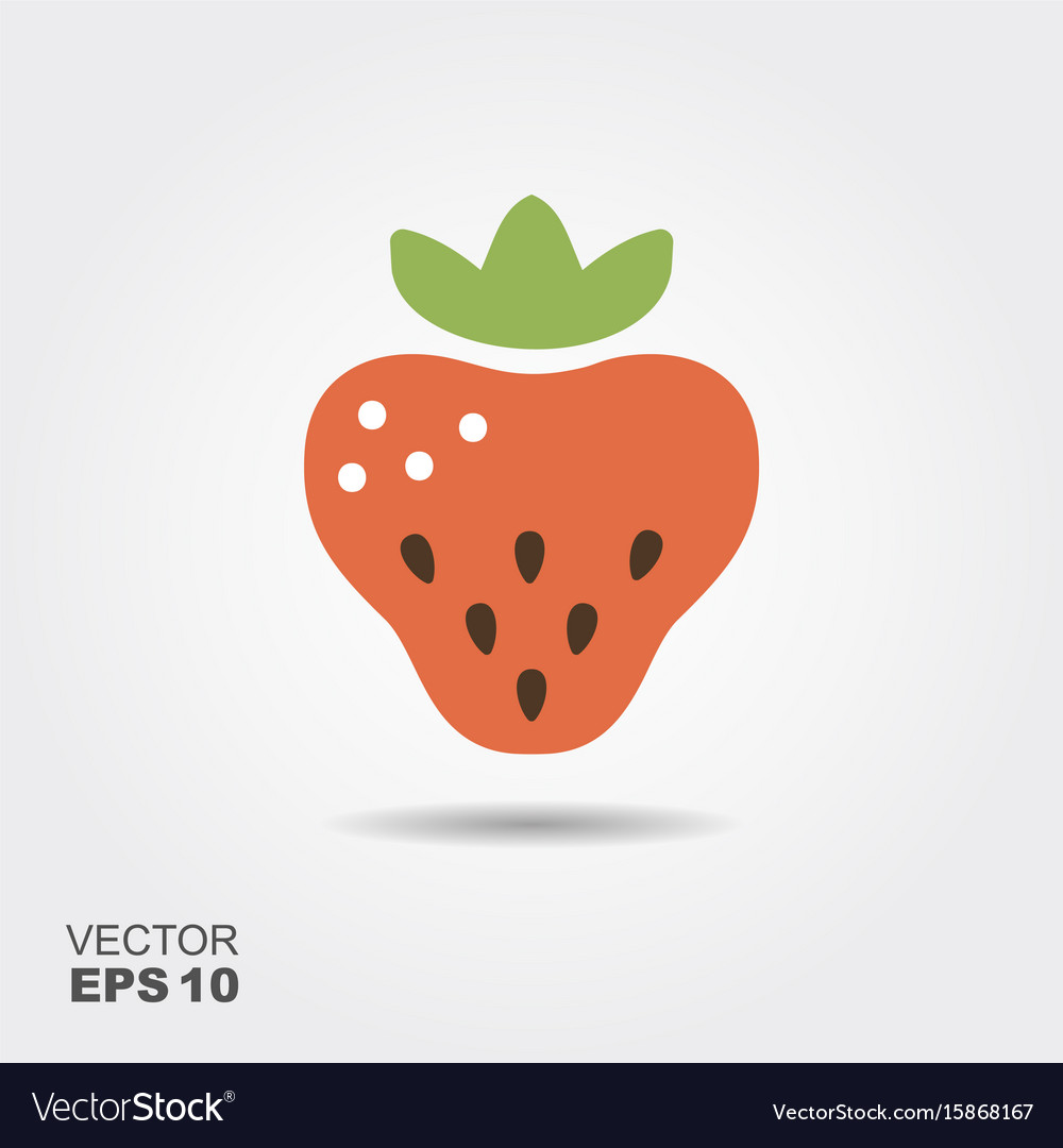 Strawberry flat icon with shadow