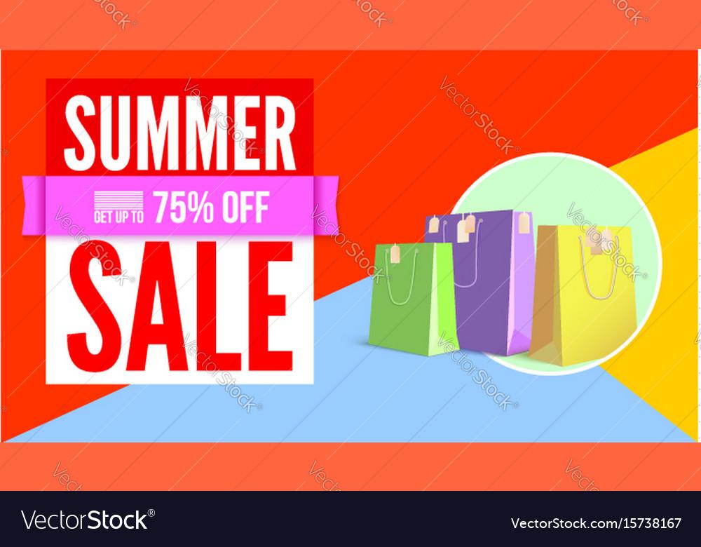 Summer sale flat design poster selling ad banner