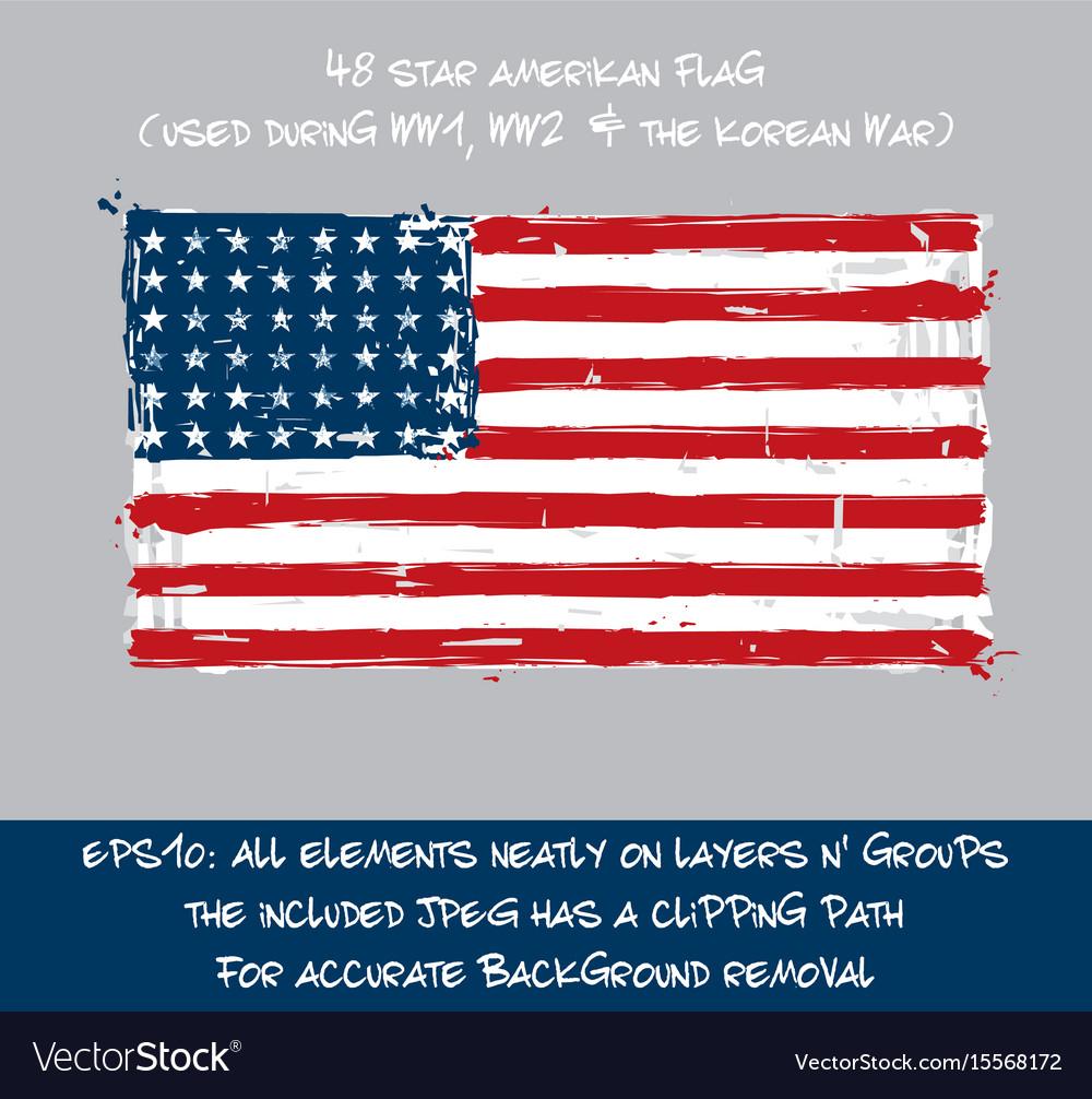 48 star american flag flat - artistic brush vector image