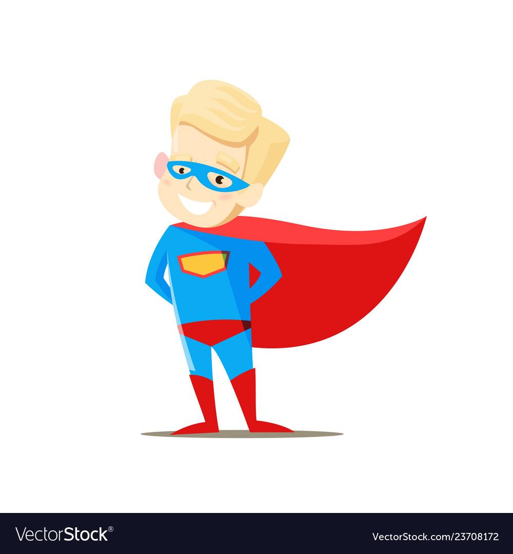 Boy in superhero costume on white background