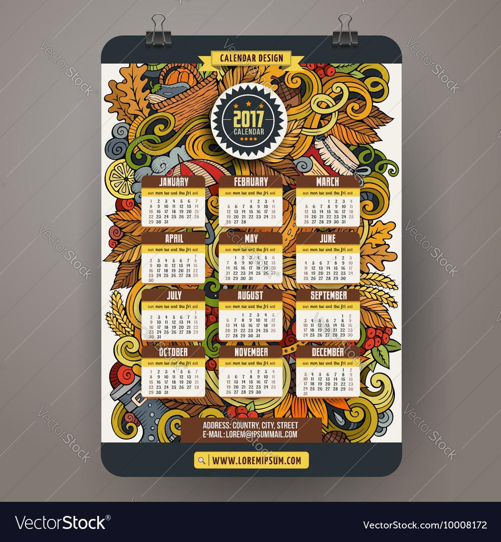 Cartoon Autumn doodles 2017 calendar vector image