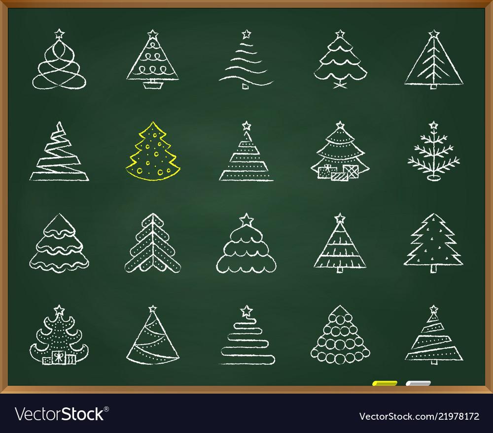 Christmas tree chalk draw line icons set