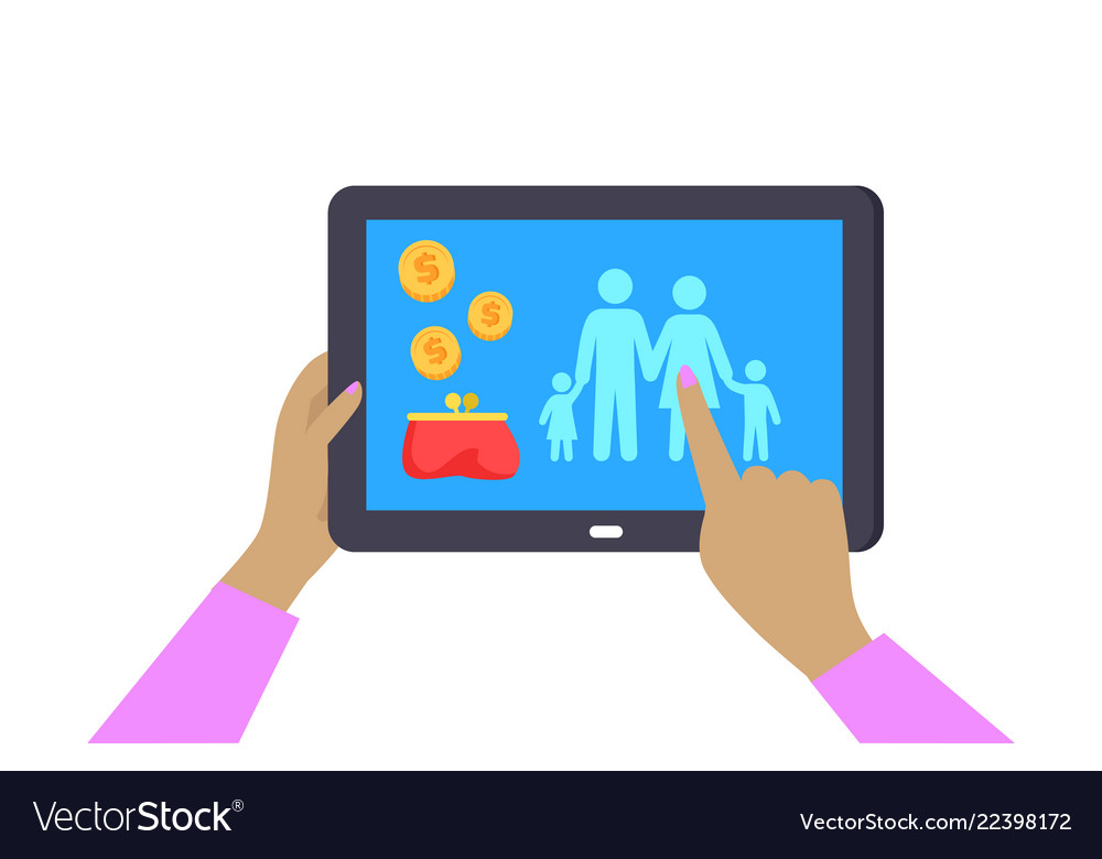 Female hands holding dark tablet colorful poster