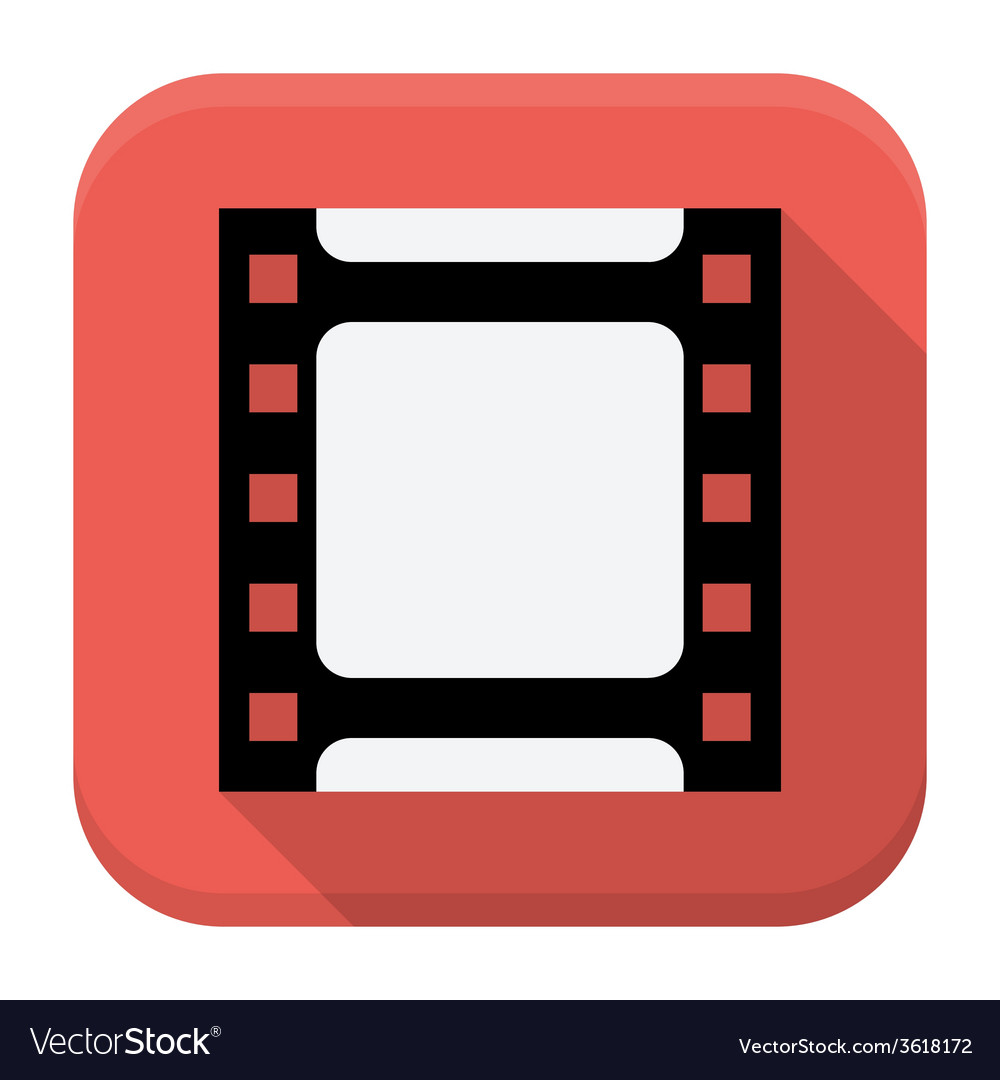 Filmstrip flat app icon with long shadow