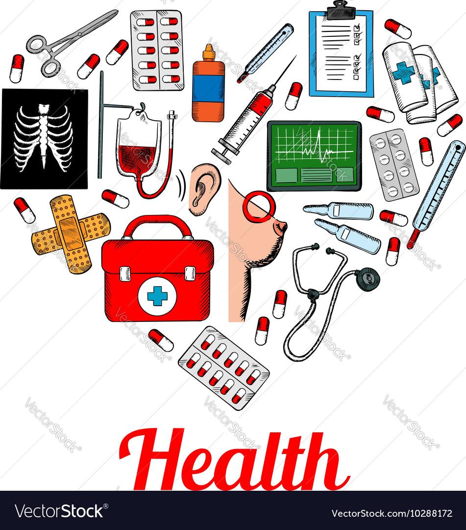 Medical symbols poster in heart shape