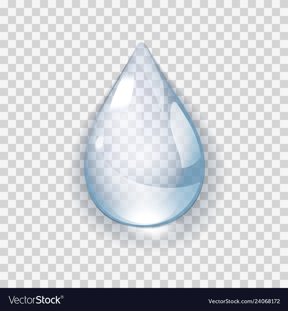 Realistic water drop on transperent background