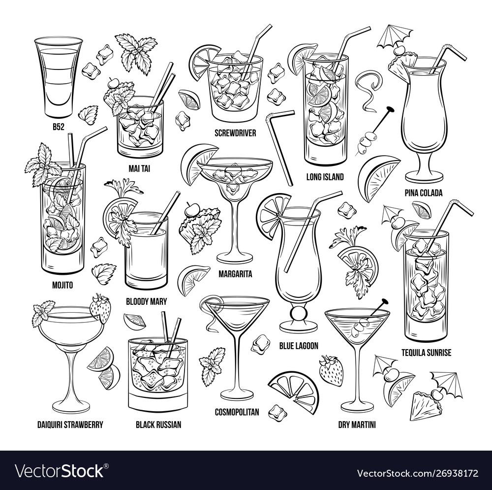 Summer alcoholic cocklails engraving set