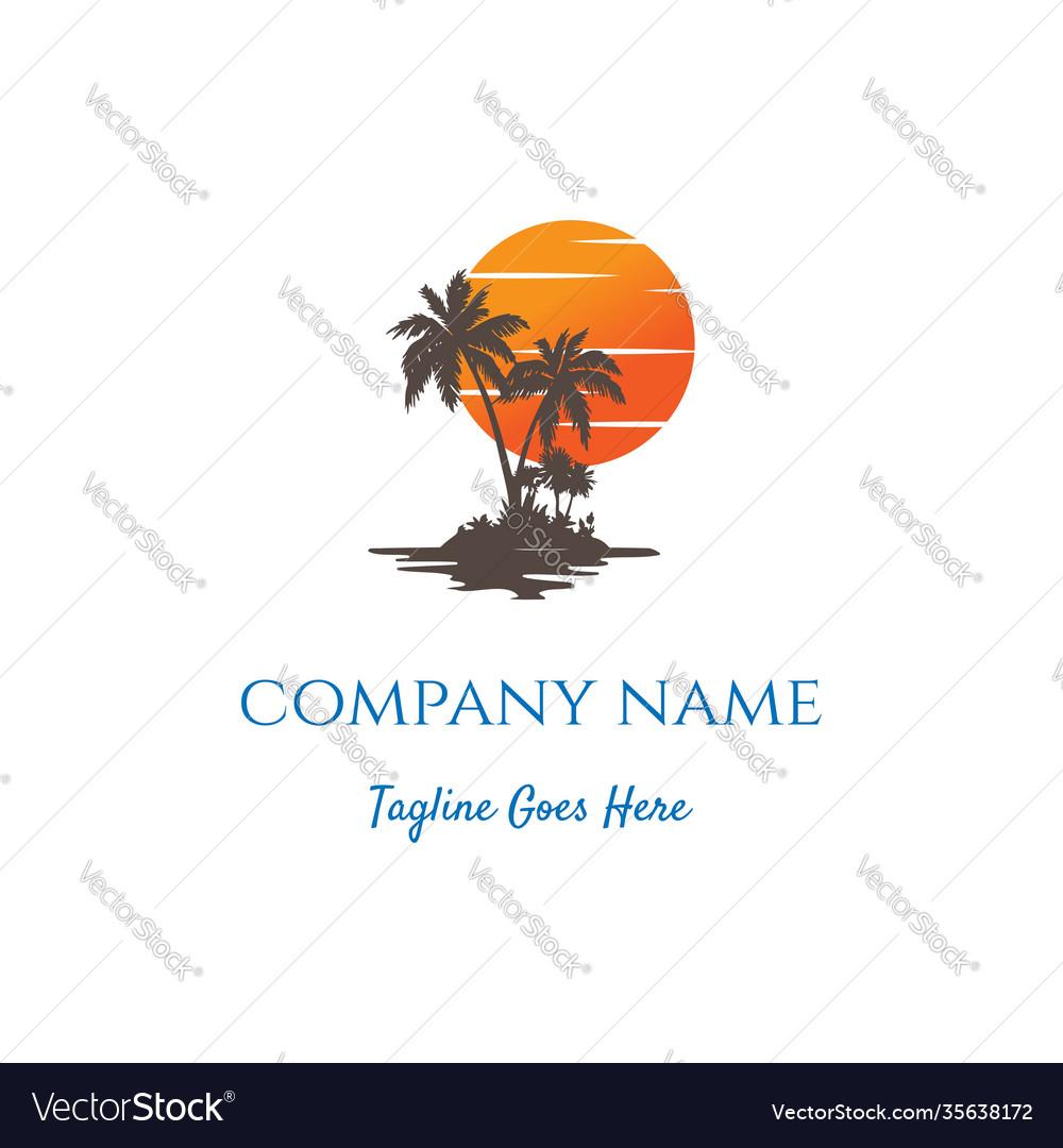 Sunset sunrise palm coconut beach logo design