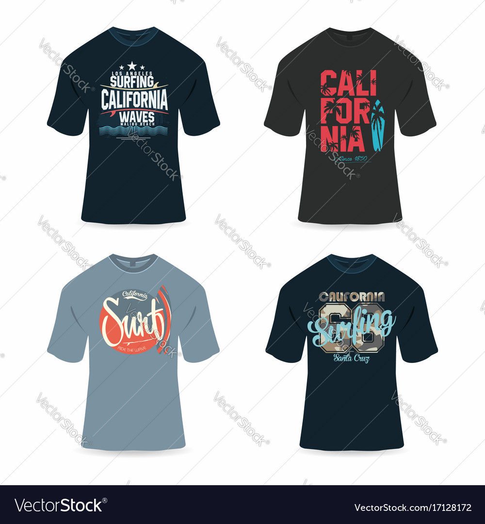 Surfing california t-shirt design typography for vector image