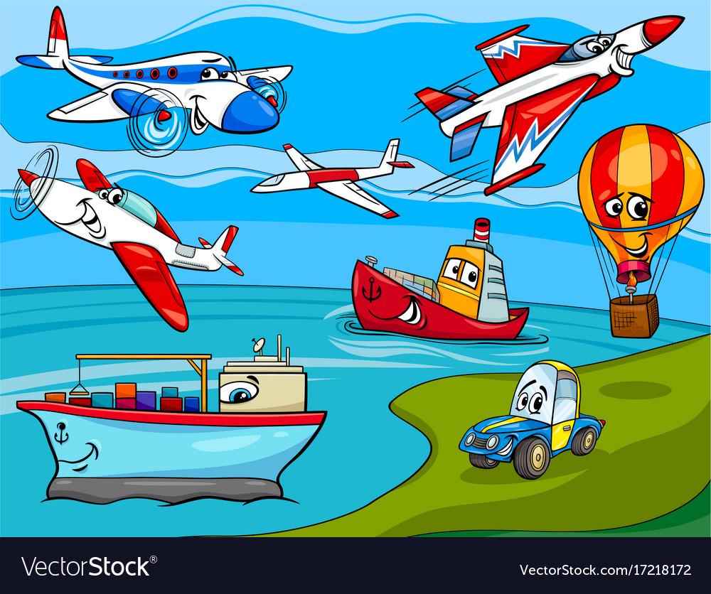 Transportation vehicles cartoon