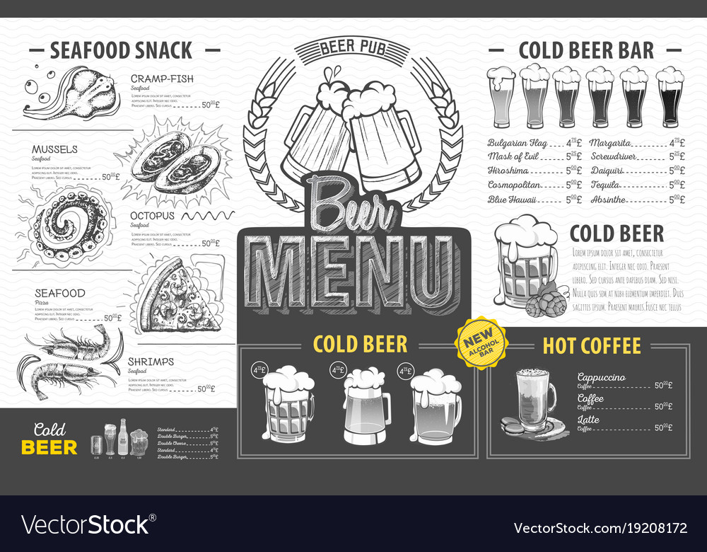 Vintage beer menu design restaurant menu