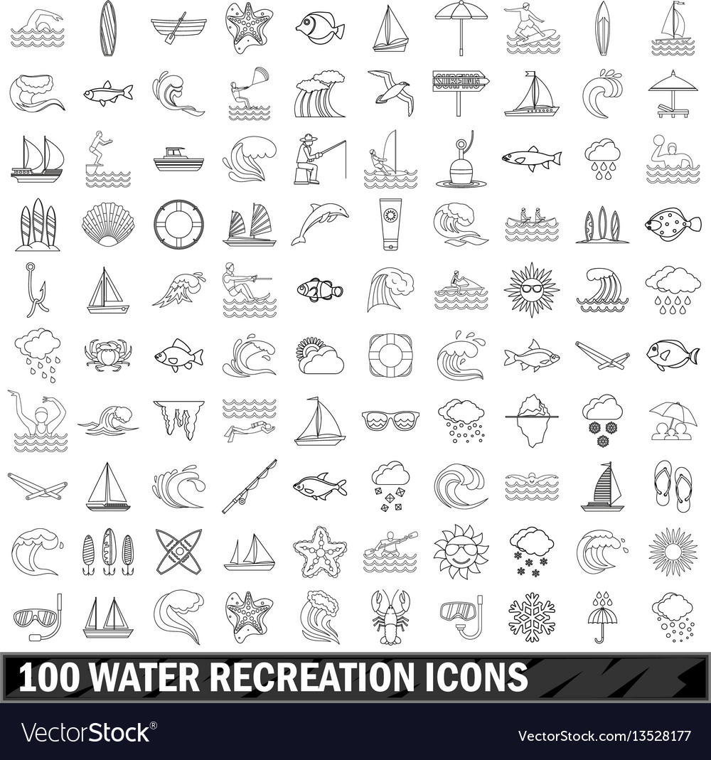 100 water recreation icons set outline style