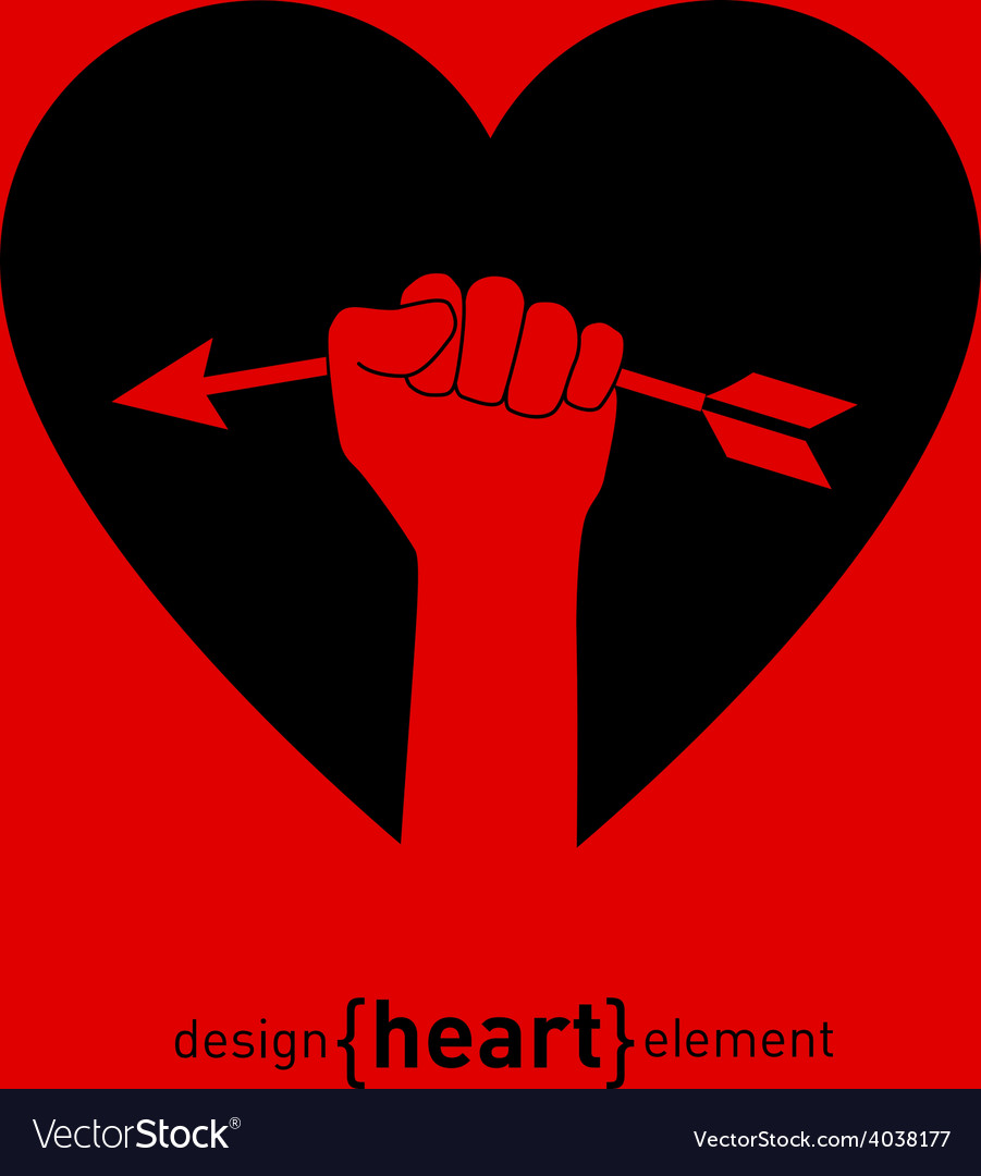Abstract design element heart with Cupids arrows