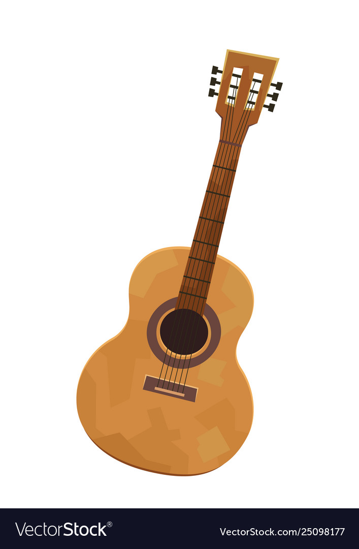 Acoustic guitar in cartoon style isolated