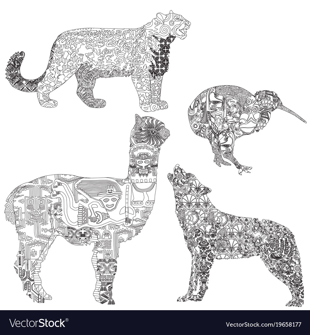 Animals with ethnic pattern