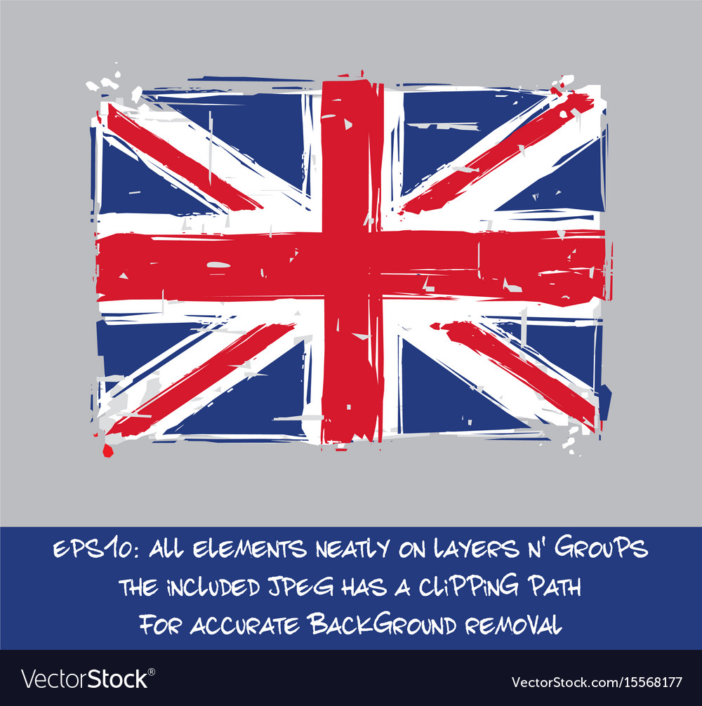 British flag flat - artistic brush strokes and