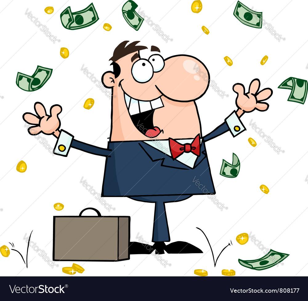 Businessman Standing Under Falling Money