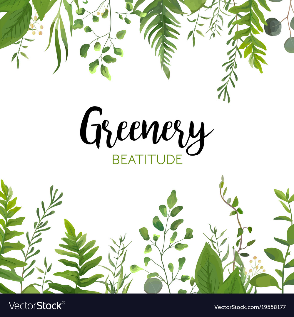 Floral greenery card design with green leaves