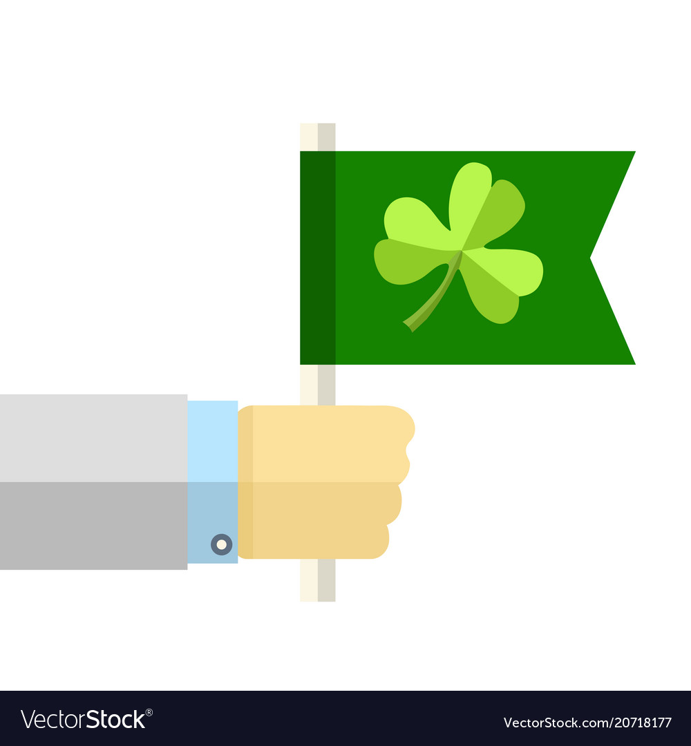 Hand with green flag with clover cartoon