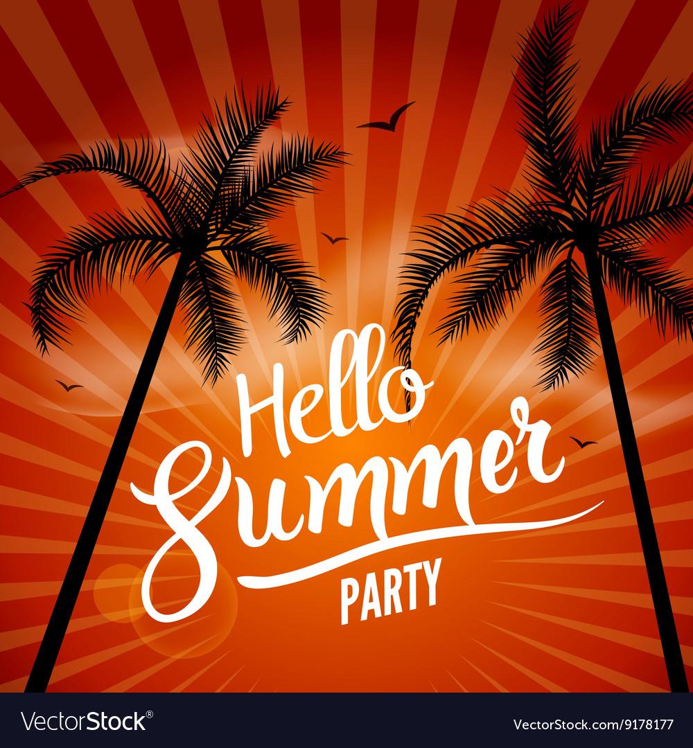 Hello Summer Beach Party Hello Summer Lettering