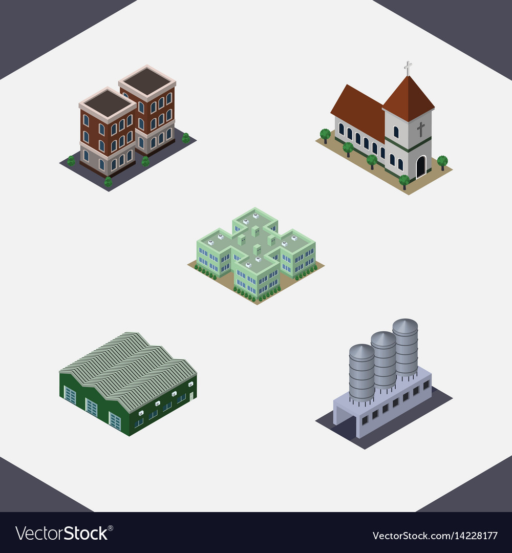 Isometric building set of chapel warehouse water vector image