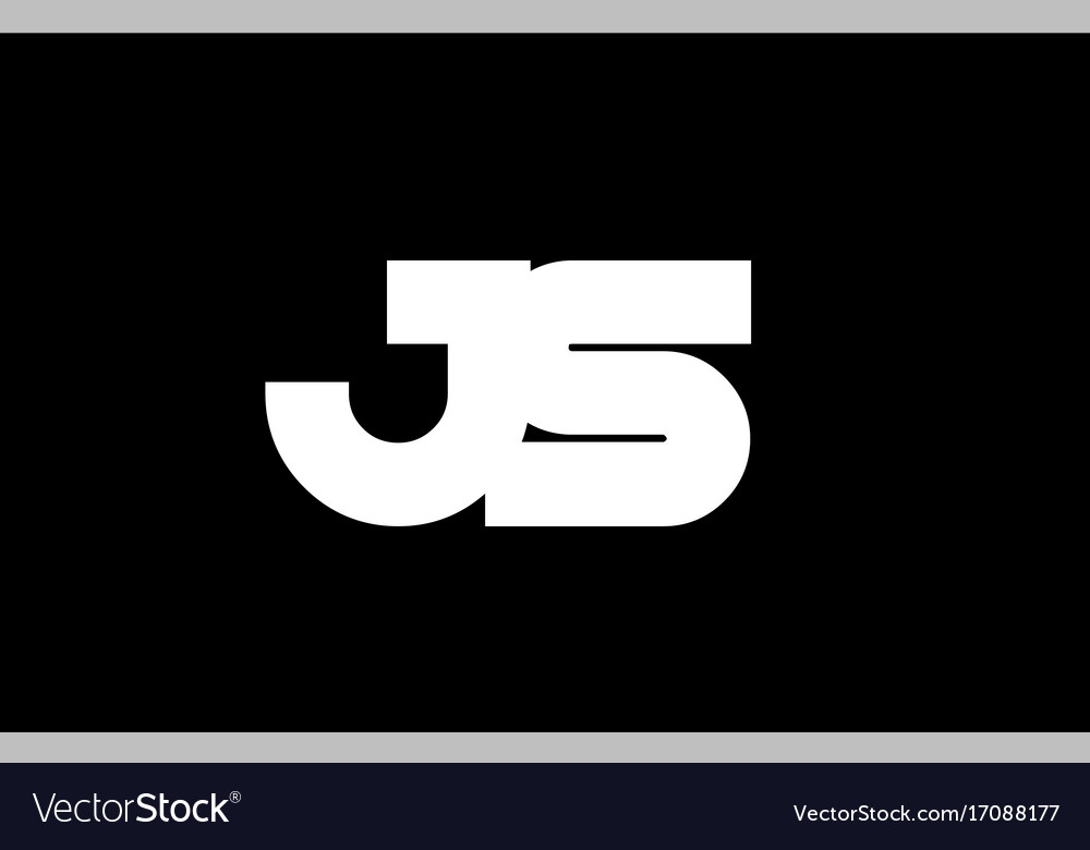 Js j s black white bold joint letter logo