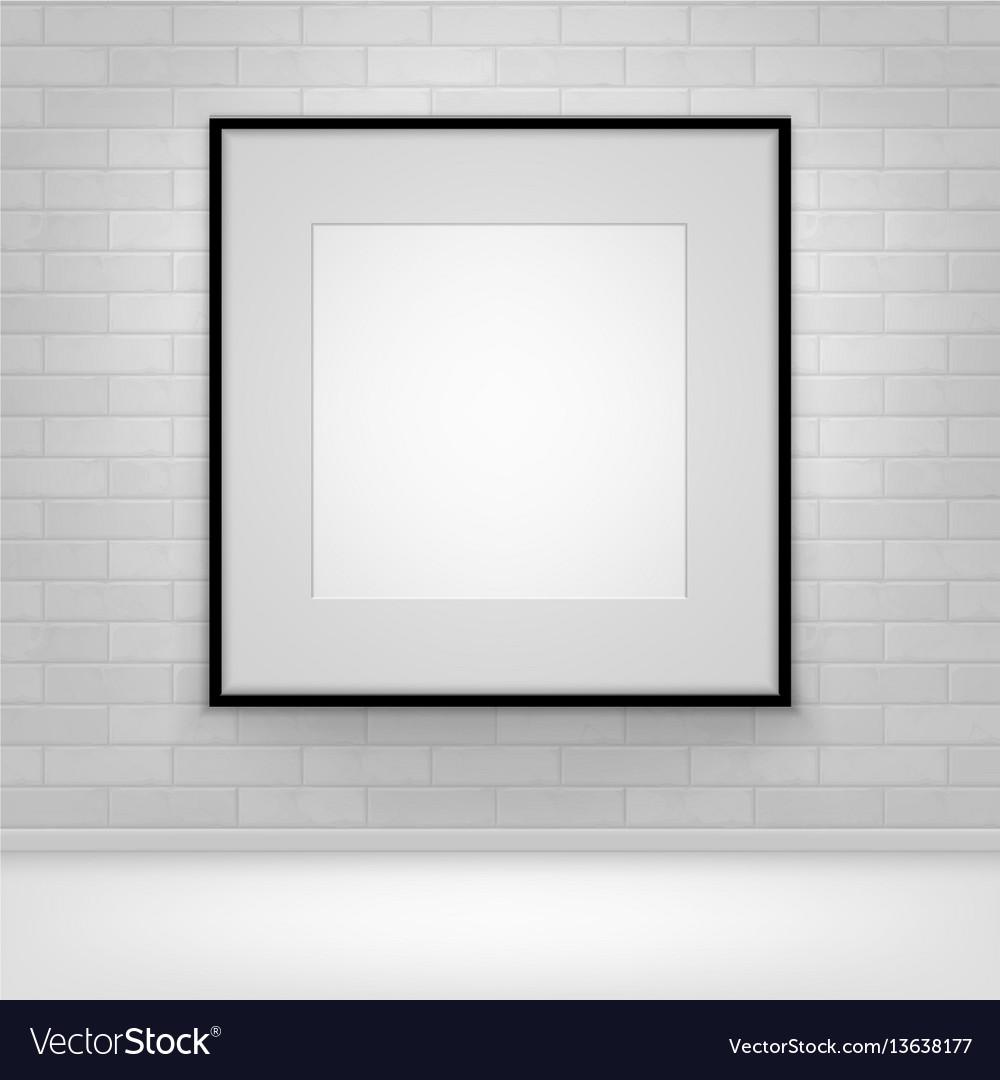Mock up poster picture black frame on brick
