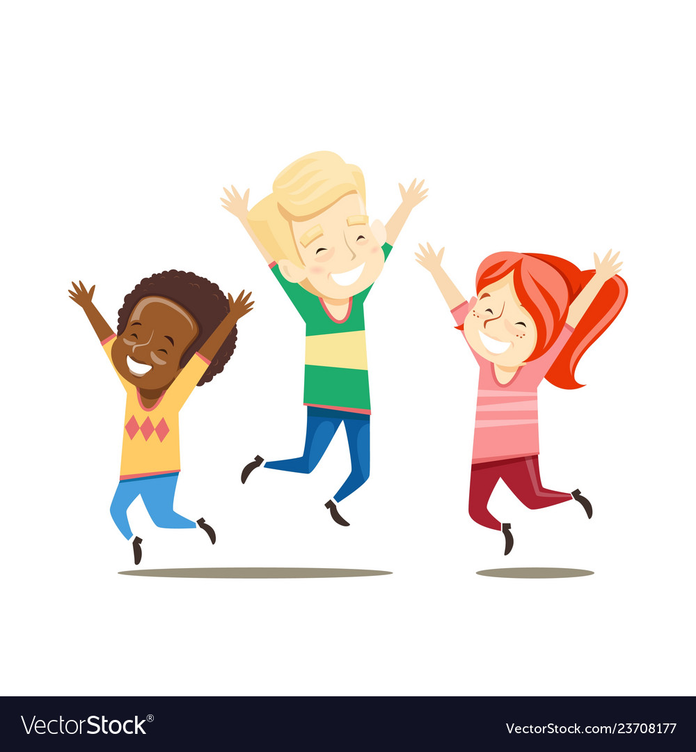 Multiracial boys and girls jump happy