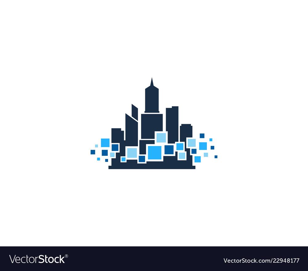 Pixel town logo icon design