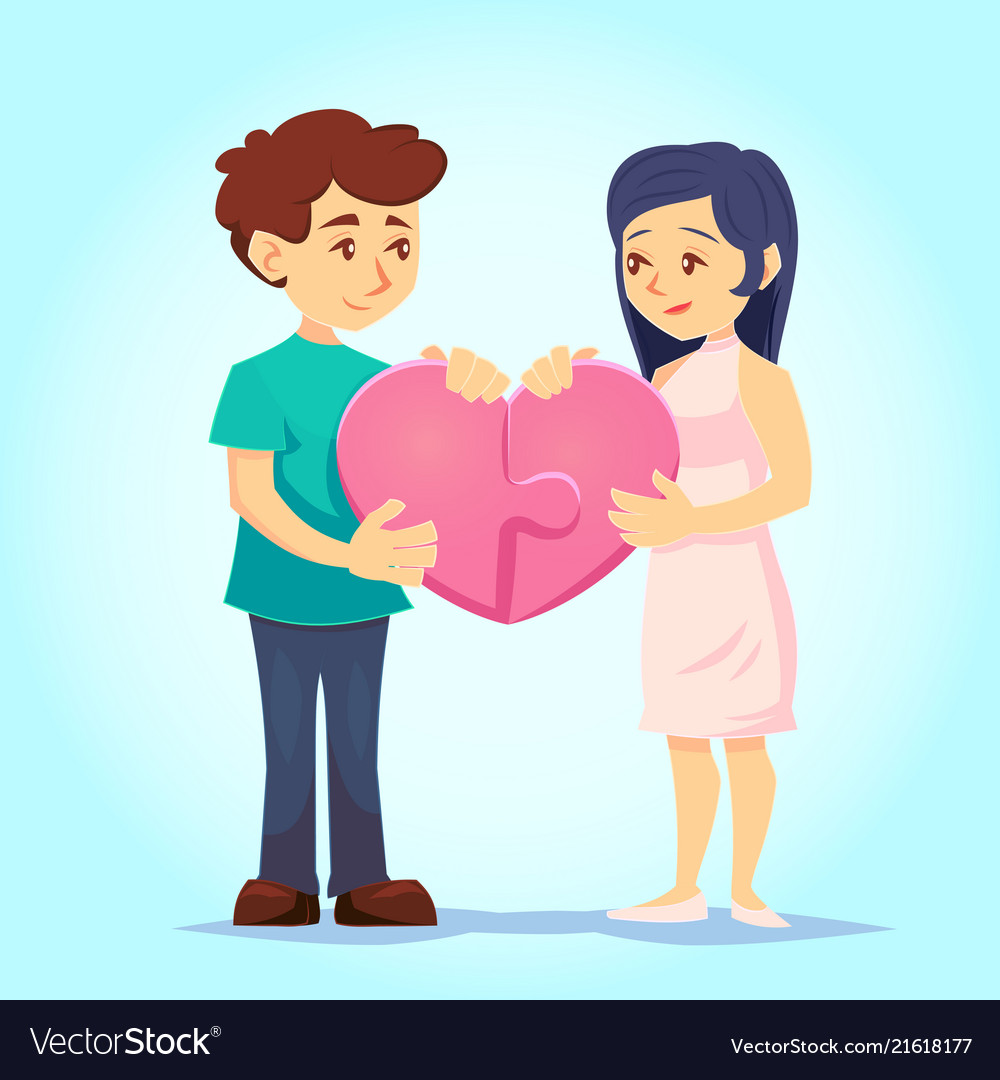 Smiling young man and woman lovingly put together