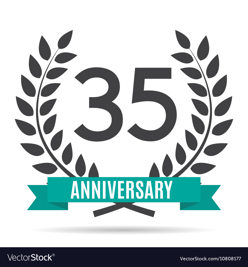 Template Logo 35 Years Anniversary Royalty Free Vector Image