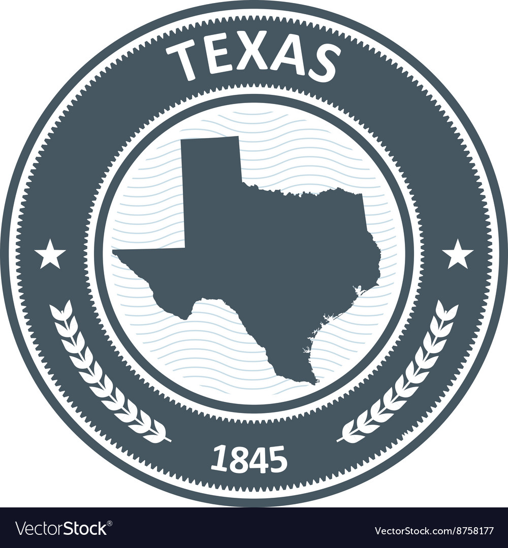 Texas stamp with state map silhouette