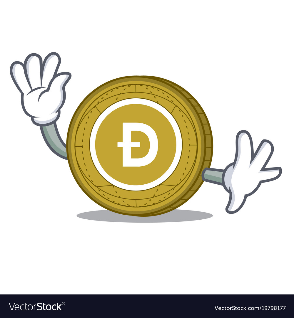 Waving dogecoin character cartoon style vector image